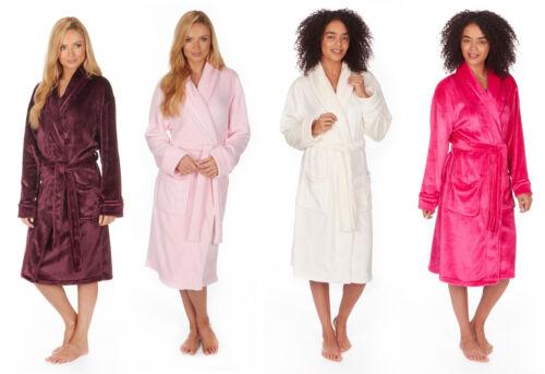4XL Robe Ladies Plain Winter Snuggle Shawl Collar Dressing Gown Small