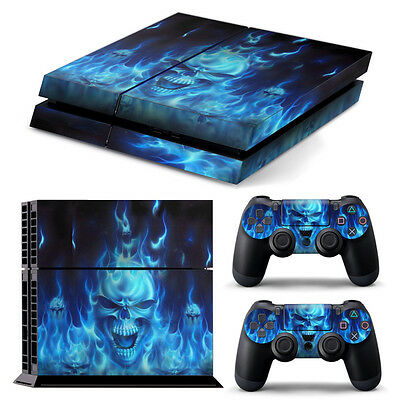 Cool Blue Skull Fire console Skin +2 Controller Sticker Cover For PS4