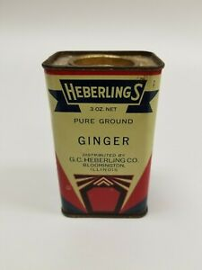 Nice-Vintage-Heberlings-3-oz-Ginger-Spice-Tin-Advertising-Bloomington-IL