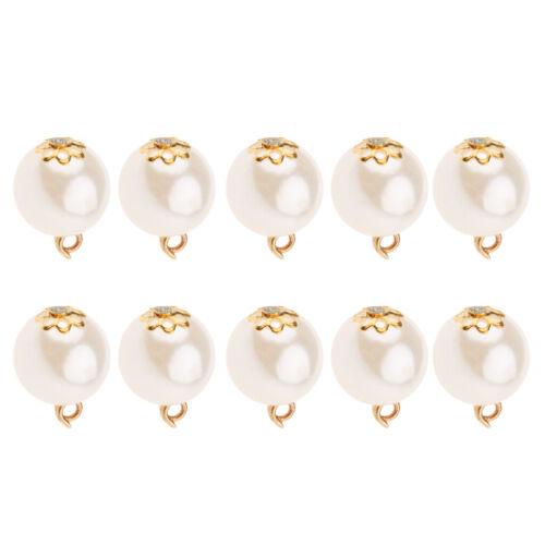 10pcs Metal Pearl Pendentifs Charms Findings For À faire soi-même Collier Bijoux 12 mm
