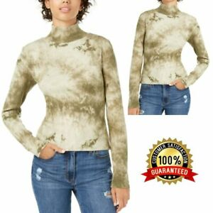 Womens Green Tie Dye Long Sleeve Mock Top Size Medium From Planet Gold Green NEW