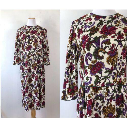 Vintage Lanz Dress 1980s Floral Print Rayon Sheath