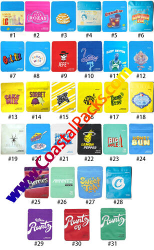 1-1000 Cookies Design Mylar Packaging 3.5 Includes Holograms and Stickers