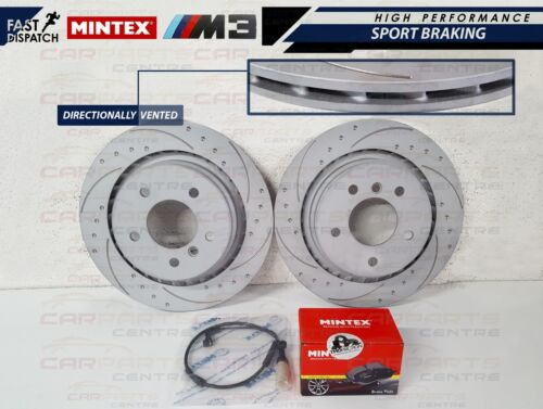BMW E36 M3 Evo Trasero con hoyuelos y ranurado discos de disco de Freno Mintex Almohadillas Sensor de Desgaste