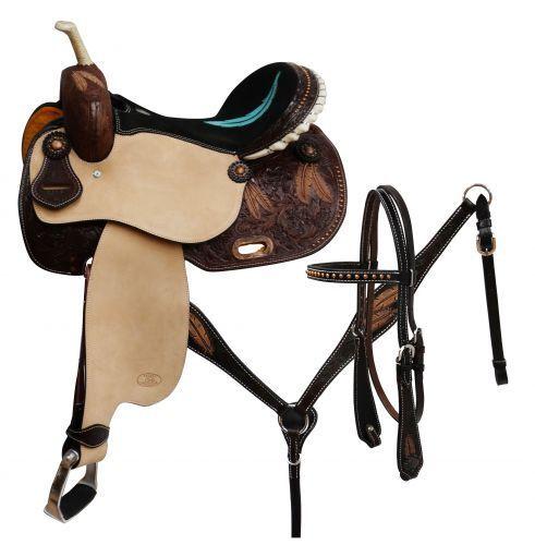 Circle S Barrel saddle set with feather tooling 14 ,15 ,16