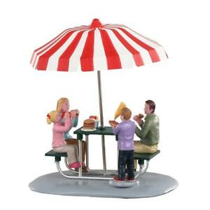 Lemax Christmas Village Town Lunch At The Park 93432 Family Picnic Umbrella