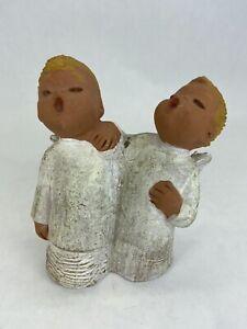 "Christmas Angel w/ Wings Choir Carolers Ceramic-Plaster Made in Spain 4.25"" Tall"