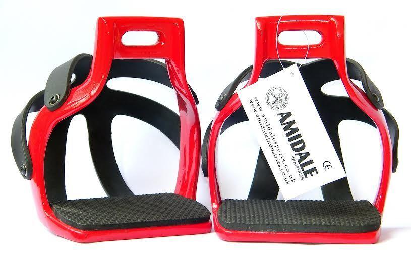 AMIDALE ALUMINIUM ENDURANCE FLEX RIDE CAGED SAFETY HORSE STIRRUPS RED 4.75