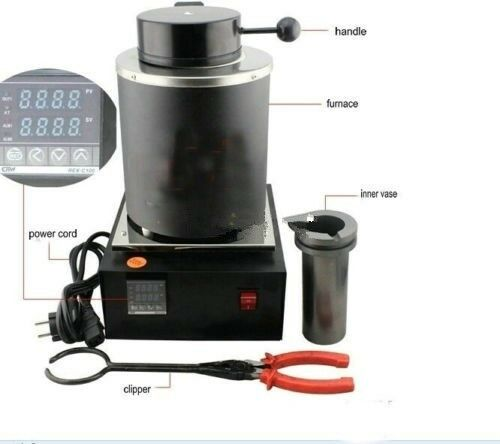 New Automatic Melting Furnace Melt 2kg Silver/&Gold Pour Bar Digital Controller S