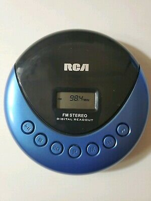 Blue RCA Personal Music CD Player with FM Radio and Skip Protection RP3013