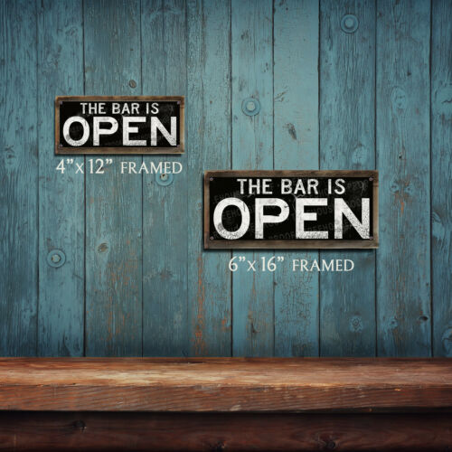 The Bar Is Open THC2240 Rustic Looking Metal Home Decor Sign