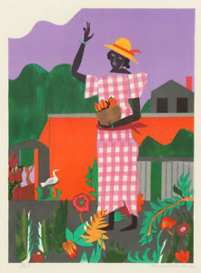 Romare Bearden Girl In The Garden 1979 Mint Orig Color Lithograph - Romare-bearden-coloring-pages