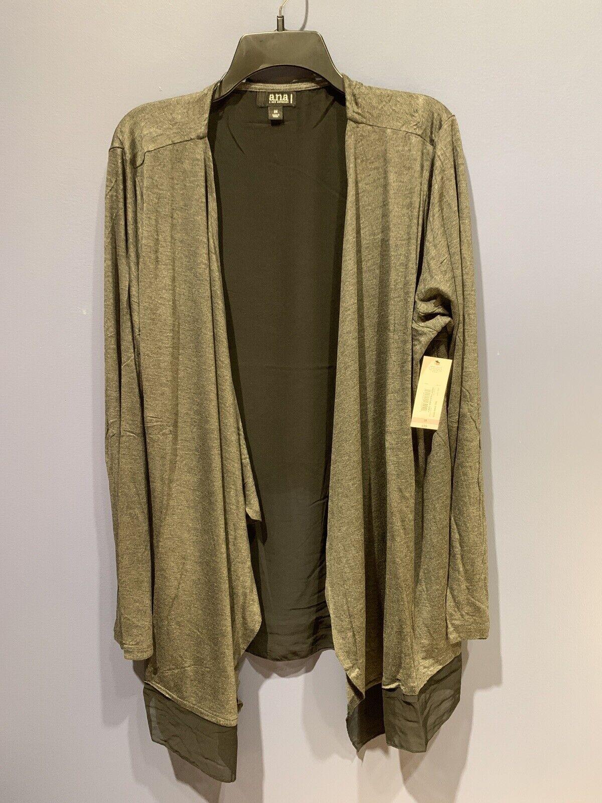 Womens 2X Jacket Cover, Dark Gray, Stretch, Handkerchief Bottom, A.N.A., NWT