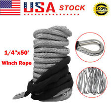 50ft 10000lbs Synthetic Winch Rope Line Recovery Cable 4wd Atv Utv With Sheath Us