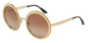 9547a32ababd 🍀NEW Dolce & Gabbana Round Sunglasses DG 2179 02/13 Gold/Brown ...