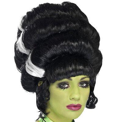 Womens Halloween Pin Up Frankie Black Wig - Fancy Dress Costume Accessory