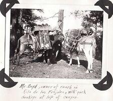 1919 DONKEYS MR. BOYD OWNER OF RANCH IN RITO DE LOS FRIJOLES NEW MEXICO PHOTO