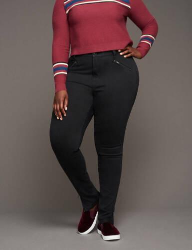 Lane Bryant Women/'s Glitter Coated Ankle Zip Skinny Jeans Size 26 NWT Black 26W