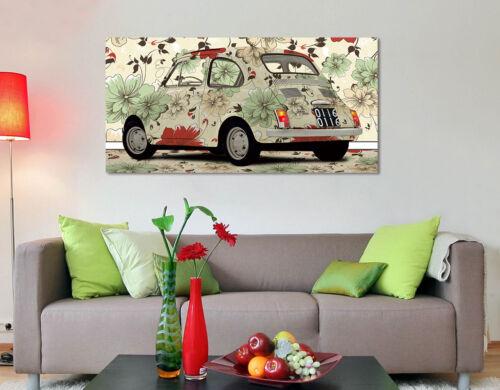 Stampa su tela Intelaiato Quadro moderno FIAT 500 Fiori Vintage Arte Arredo