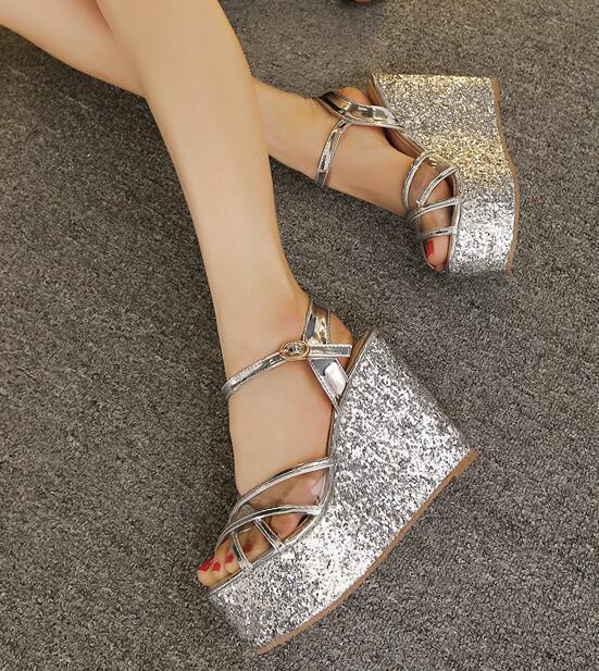 Sandalias de mujer abierto plata cuña plataforma 11.5 cm elegantes cómodo 8111