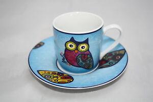 Espresso-Set-Eule-blau-Koenitz-Porzellan-80ml-Tasse-Untertasse