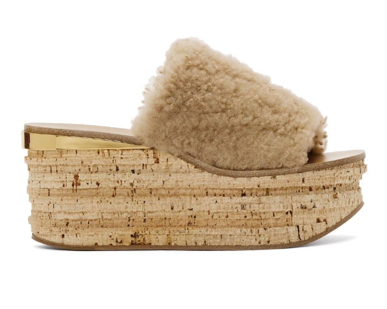 890 Chloe Camille Shearling Fur Platform Slide Sandals Pink Sand Cork 40.5 NIB