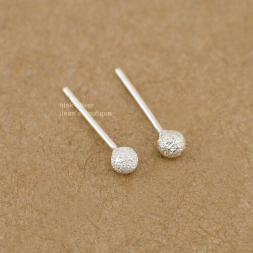 925 Sterling Argent mat boule ronde post Boucles d/'oreille 3mm//4mm//5mm//6mm A1025