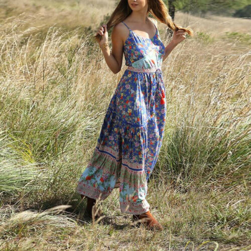 Women Summer Bohemian Print Waist V-Collar Chiffon Boho Beach Long Cloak Dress