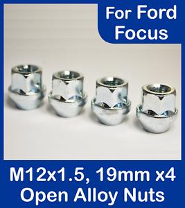 Argento Set di 16 x M12 x 1.5 19mm Hex Lega Aperto Dadi delle ruote