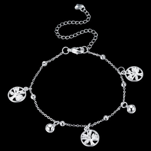 925Sterling Silver Fashion Leaf Bells Charming Woman Anklets Bracelet AAY099