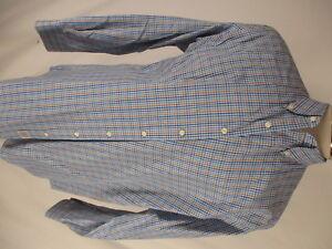 Peter-Millar-Mens-Blue-Plaid-Long-Sleeve-Cotton-Shirt-XL