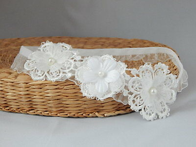 Baptism baby headband Handmade Fdh unique lace christening hair band for girls