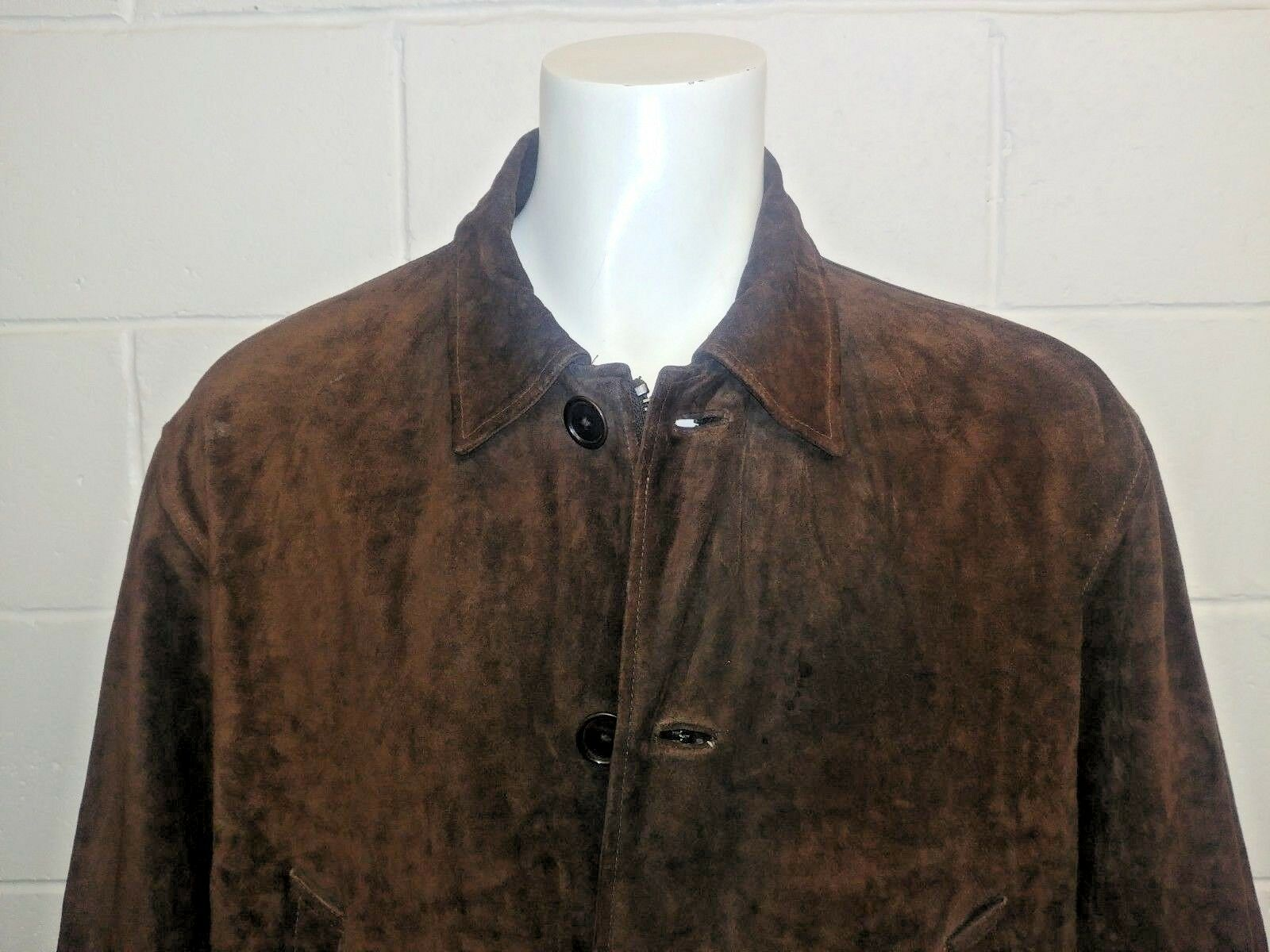 Ralph LAUREN POLO 100% pelle pelle pelle scamosciata cappotto auto con fodera in misto lana/. Taglia L 8113aa