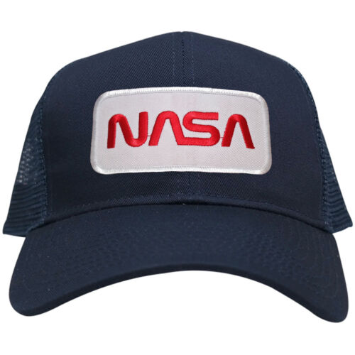 NASA Worm Red Text Embroidered Iron On Patch Snapback Trucker Mesh Cap