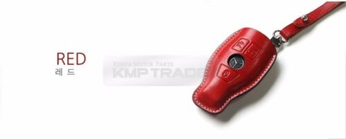 Premium Accessory Leather Cowhide 3Button Smart Key Case Cover 1EA for BENZ