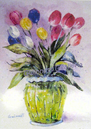 Tulips and  Chihuly Glass inspired Vase
