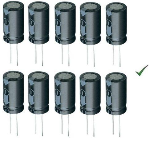 10pz Condensatore Elettrolitico 100uF 63V Verticale 105° 8x11mm