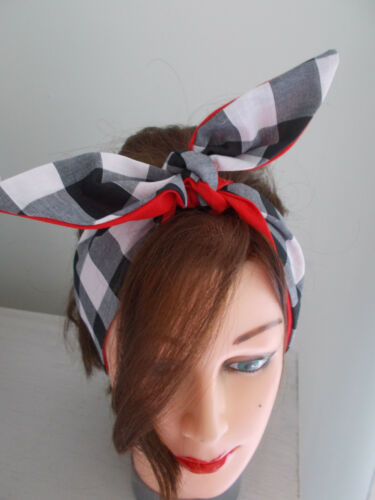 HEAD SCARF NECK HAIR BAND BOW BLACK GINGHAM RED ROCKABILLY BUNNY SWING PIN UP