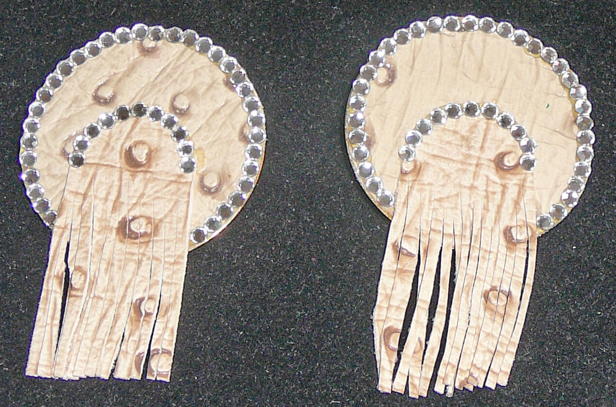 Faux pigskin and clear crystal pierced earrings