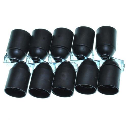 10 Stück Kunststoff Fassung E27 schwarz mit Metallwinkel
