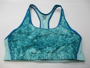 CHAMPION-Women-039-s-Size-L-DUODRY-Training-Light-Support-Teal-Blue-Racer-Sports-Bra