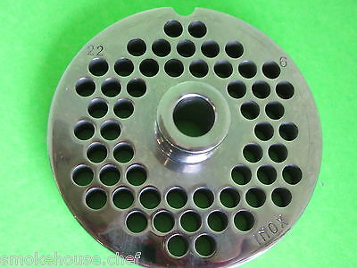 """#32 x 3//16/"""" Meat Grinder Plate  w// Hub  STAINLESS fits Hobart Biro LEM /& More"""