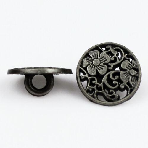 12PCS en Alliage de Zinc percé Rond Fleur ciselure Tige Boutons Bronze 15 18 20 mm