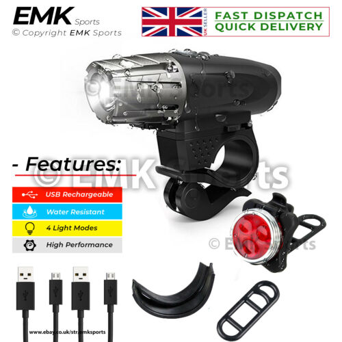 Headlight /& Taillight Set Water Resistant Super Bright Front and Back Bike Light