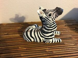 Zebra-Statue-Black-and-White-Striped-Stone-Like-Material-Sold-Separately