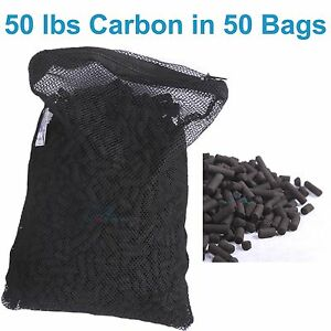 50 lbs activated carbon in 50 media bags for aquarium fish for Charcoal pond filter