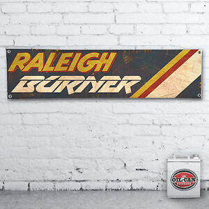 RALEIGH-BURNER-VINTAGE-EFFECT-Banner-heavy-duty-for-workshop-garage