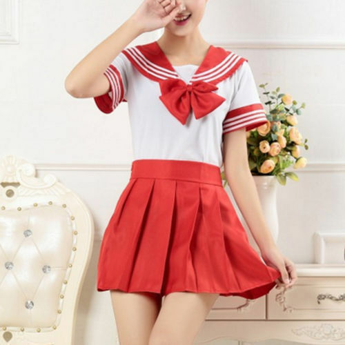 Japanese School Girls Dress Outfit Sailor Uniform Anime Cosplay Costume Suit New