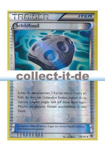 Schildfossil Reverse Holo Deutsch Pokemon Plasma-Blaster 79//101