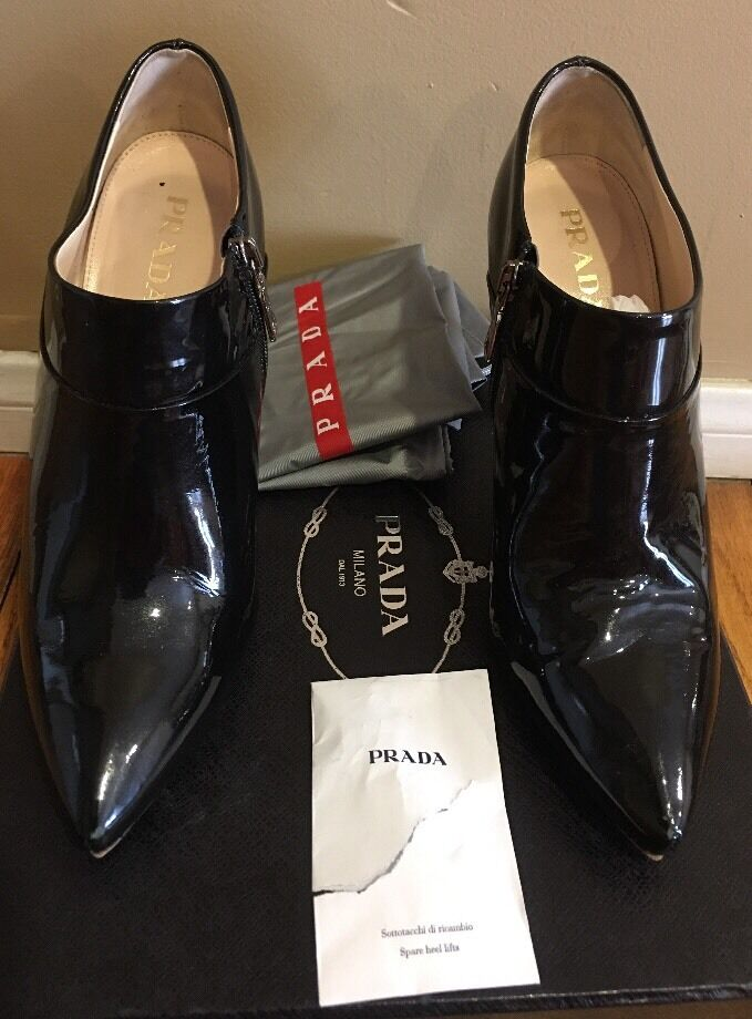 PRADA CALZATURE women PATENT LEATHER ANKLE  BOOTS BLK black SZ 37.5